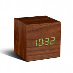 Relógio Cubo Madeira Nogueira